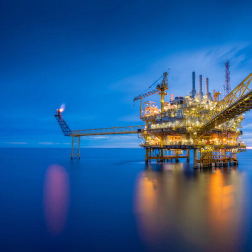 Offshore,Oil,And,Gas,Central,Processing,Platform,In,Sun,Set
